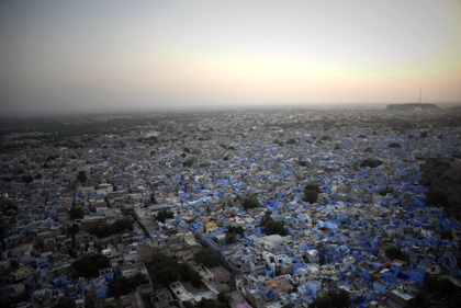 From the mighty Mehrangarh Fort, the blue city of Jodhpur, stands as a visual marvel in Rajasthan's arid desert. In the wind, one can hear the several eloquent pleas and prayers from the city's many mosques.