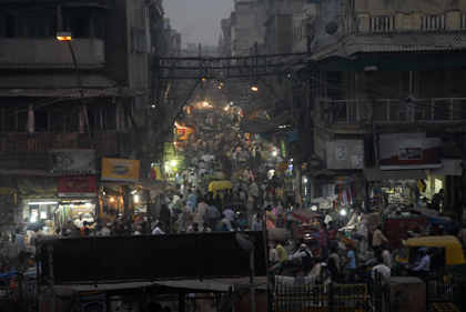 Taking a rickshaw ride through these streets of Chandni Chowk in Delhi, India is absolutely crazy. There are so many rickshaws, bikes, people and the streets are filled with every possible market. Read about the area in this archive story.
